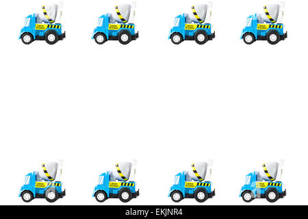 Frame of Toy cars. Concrete mixer Toys Truck - Stock Photo