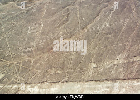 Nazca Lines geoglyphs in Nazca, Peru - Stock Photo