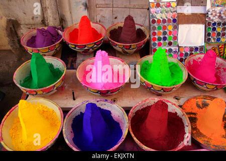 Display of colorful paint at the market, Pushkar, Rajasthan, India - Stock Photo