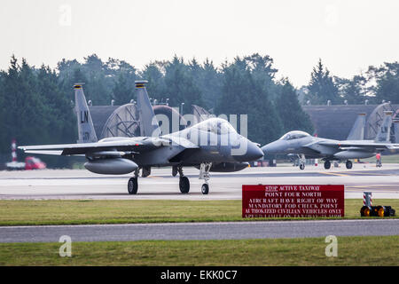 F-15 Eagle from the US Air Force at RAF Lakenheath. - Stock Photo