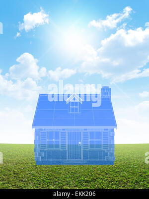 Blue sky with clouds and the blueprint of the house with bank sign a blueprint plan overlay for a stone cottage with a chimney and shutters on a blue malvernweather Images
