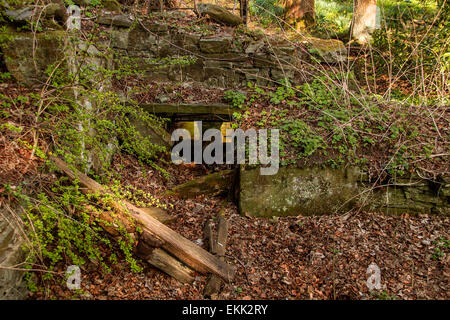 Old run down Waterwheel and Watermill on the Dighty burn at Balmuirfield along Harestane Road in Dundee Scotland, - Stock Photo