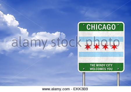 City of Chicago flag icon logo - Stock Photo