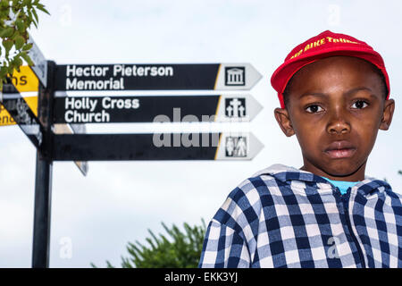 Johannesburg South Africa African Orlando West Soweto Hector Pieterson Memorial protest apartheid sign directions - Stock Photo