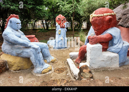 South Africa, African, Johannesburg, Soweto, Kwa-Khaya Lendaba Credo Mutwa Cultural Village, sculptures, sightseeing - Stock Photo