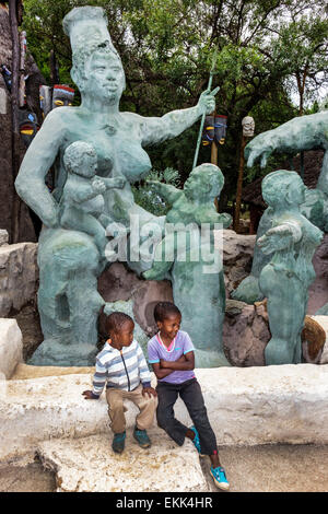 South Africa, African, Johannesburg, Soweto, Kwa-Khaya Lendaba Credo Mutwa Cultural Village, sculptures, Black Blacks - Stock Photo