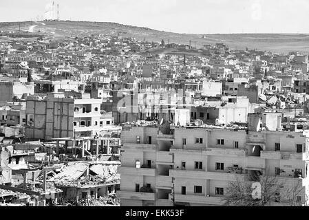 Destruction of Kobane - kurdish city in northern Syria. 31.3.2015, Kobane, Syria - Stock Photo