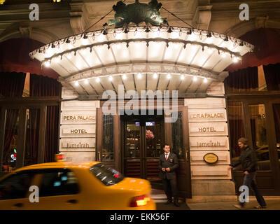 Entrance to the Pera Palace Hotel in Beyoglu Istanbul Turkey - Stock Photo