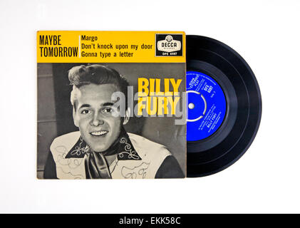 Extended play vinyl record and cover by Billy Fury featuring 'Maybe Tomorrow'. - Stock Photo