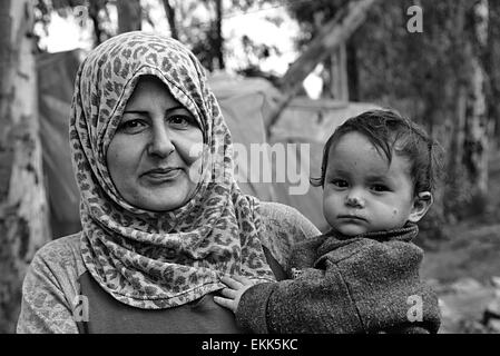 portrait of refugees living homeless in Turkey. 2.4.2015 Reyhanli, Turkey - Stock Photo