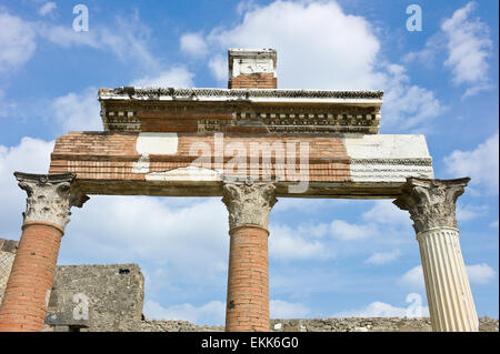 The area in the north east of The Forum outside the Macellum showing columns and portico, Pompeii, Italy - Stock Photo
