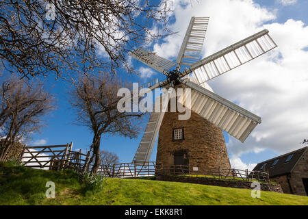 Heage, Derbyshire, U.K. 11th April 2015.  April showers and spring sunshine at the historic Heage windmill, a fully - Stock Photo