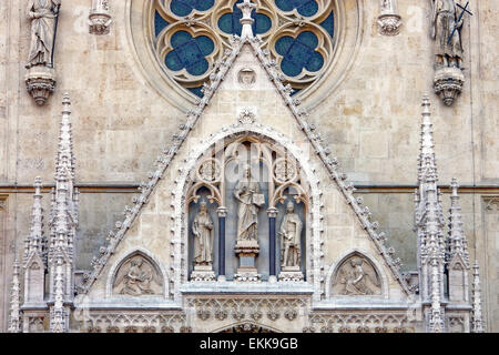 Gable triangle above the main entrance to the Cathedral of Assumption of the Blessed Virgin Mary in Zagreb, Croatia - Stock Photo