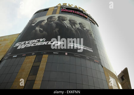 Wroclaw, Poland. 11th April, 2015. Big poster advertising 'Fast and Furious 7' movie on facade of Arkady Wroclawskie - Stock Photo