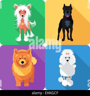 Set dog icon flat design - Stock Photo