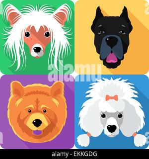 Set dog head icon flat design - Stock Photo
