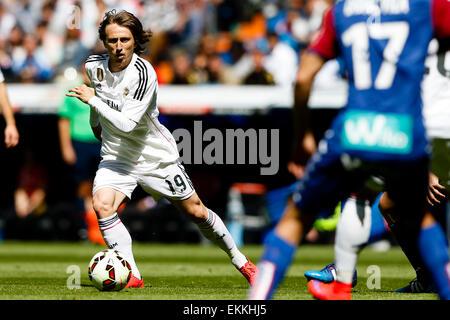 Madrid, Spain. 11th Apr, 2015. La Liga football league. Real Madrid versus SD Eibar. Luka Modric Midfielder of Real - Stock Photo
