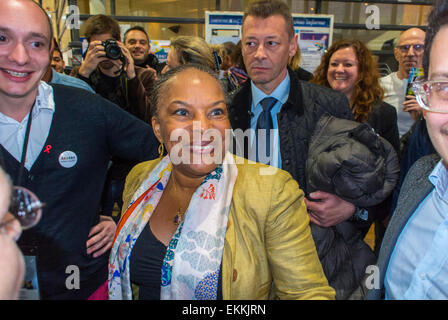 Paris, France. LGBT Trade Show, 'Prin-temps des Associations', with 'Christiane Taubira', French ex- Minster of - Stock Photo