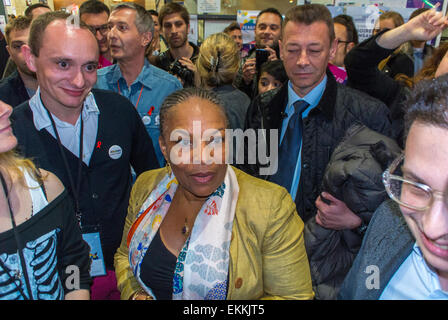 Paris, France. LGBT Trade Show, 'Prin-temps des Associations', with Christiane Taubira, French Minster of Justice, - Stock Photo