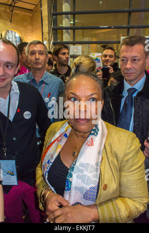 Paris, France. LGBT Trade Show, 'Prin-temps des Associations', with Portrait, Christiane Taubira, French Minster - Stock Photo