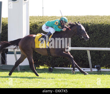 Lexington, KY, USA. 11th Apr, 2015. Ball Dancing and jockey Javier Castellano win the Jenny Wiley at Keeneland for - Stock Photo