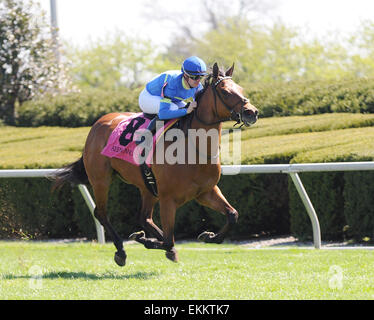 Lexington, KY, USA. 11th Apr, 2015. Katie's Eyes and jockey Florent Geroux win the Giant's Causeway at Keeneland - Stock Photo