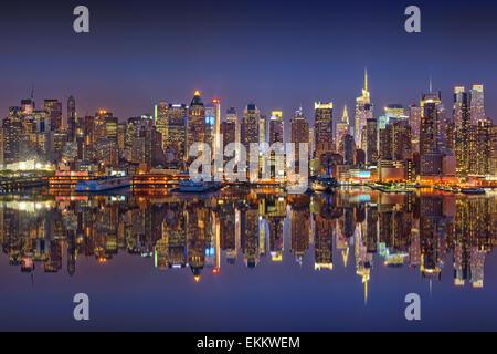 Manhattan at night - Stock Photo