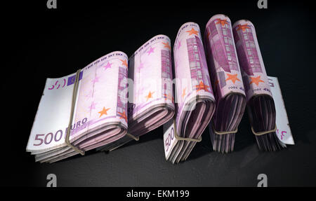 A close-up view of five wads of folded over stacks of euro banknotes each bound informally by a rubber band set - Stock Photo