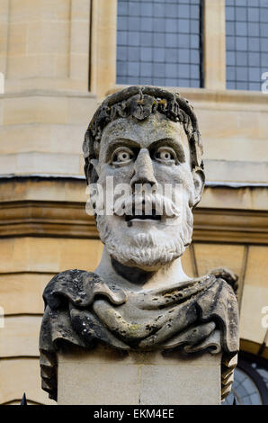 One of the Emporer's Heads outside The Sheldonian Theatre, Broad Street, Oxford, U.K - Stock Photo