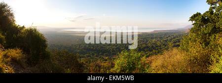 Panorama of Lake Manyara in Africa - Stock Photo