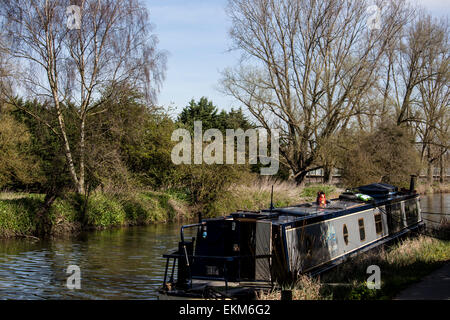 Narrow boat on the River Stort - Stock Photo