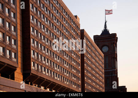 MARCH 2008 - BERLIN: typical East German 'Plattenbau' (pre fabricated concrete building), 'Rotes Rathaus' (City - Stock Photo