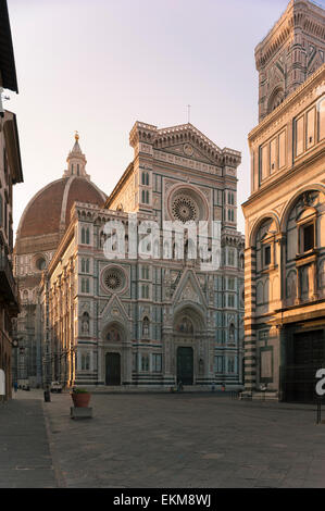 Cathedral Florence, view at sunrise towards the Duomo in the Piazza San Giovanni, Florence, Italy. - Stock Photo
