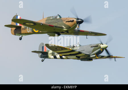 Hawker Hurricane Mark I and Supermarine Spitfire Mark IX planes at an airshow. Space for copy - Stock Photo