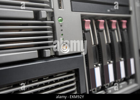 Network Server with Hot Swap Hard Drives installed in a rack - Stock Photo