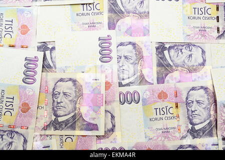 czech crown - national money in czech republic - Stock Photo