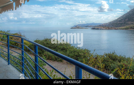 View from a seaside restaurant in Bali on the imposing gulf, Central Crete, North Rethymnon Prefecture, Greece. - Stock Photo
