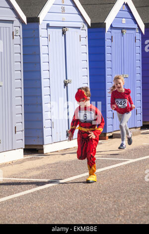 Bournemouth, UK. 12th April, 2015. Children taking part in the 1k children fun run/family friendly run, part of - Stock Photo