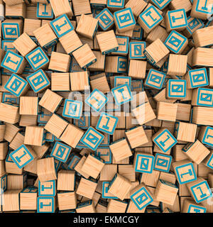 3D render of hundreds of toy blocks with binary one and zero filling image - Stock Photo