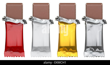 3D render of candy bars with blank red, white, gold and silver wrappers - Stock Photo
