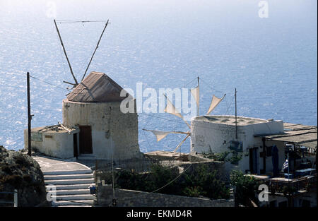 greece, dodecanese islands, karpathos, olymbos, windmills - Stock Photo