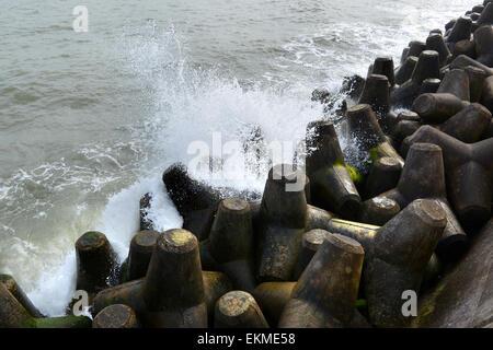 Concrete tetrapod tetrapods coastal sea defences - Stock Photo