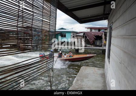 The Water village of Kampong Ayer, Bandar Seri Begawan, Brunei - Stock Photo