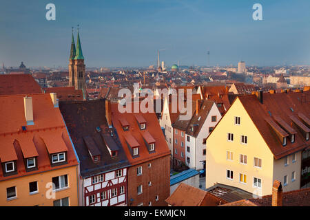 Nuremberg. Image of historic downtown of Nuremberg, Germany at sunrise. - Stock Photo