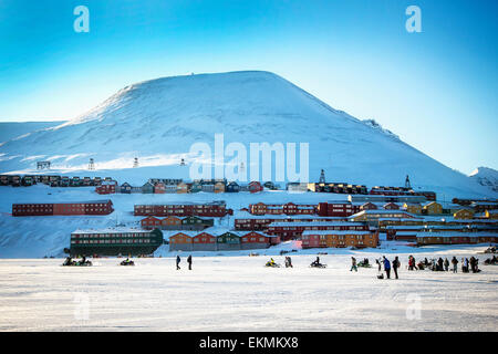Overall view of Longyearbyen town on Spitsbergen in Svalbard,Norway prior to total solar eclipse. - Stock Photo
