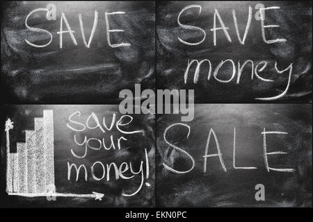 Black Chalkboard Set Collage With Business Message - Stock Photo