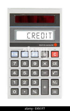 Old calculator showing a text on display - credit - Stock Photo