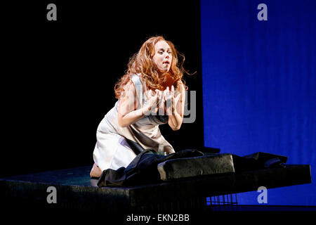 Leipzig, Germany. 7th April 2015, Elisabet Strid performs as Brünnhilde in the final dress rehearsal of Richard - Stock Photo