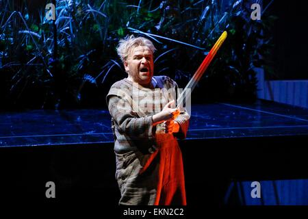 Leipzig, Germany. 7th April 2015, Christian Franz performs as Siegfried in the final dress rehearsal of Richard - Stock Photo