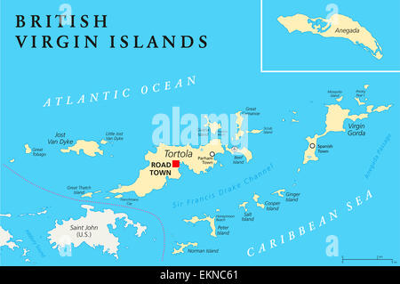 Usa Atlantic British Virgin Islands Political Map Stock Photo